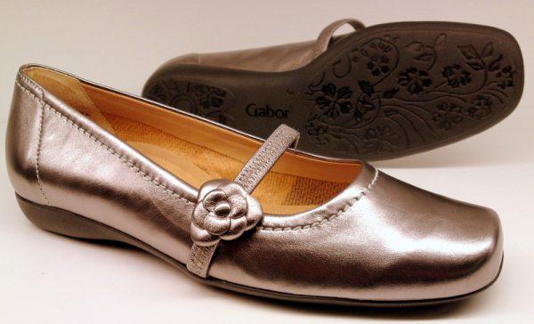 Gabor flat slip-on 02.616.98 metallic argento leather