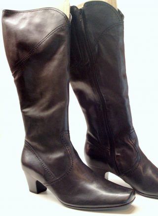 Gabor 16.087.57 black leather long boot for women  WIDE LEG