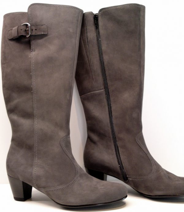 Gabor 36.589.30 grey soft nubuck long boot for WIDE FIT and WIDE SHAFT