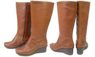 Clarks boots MAGDA GROOVE tan leather WEDGES