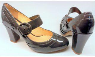 Clarks BEAUTY SPOT dark grey patent leather pumps for women