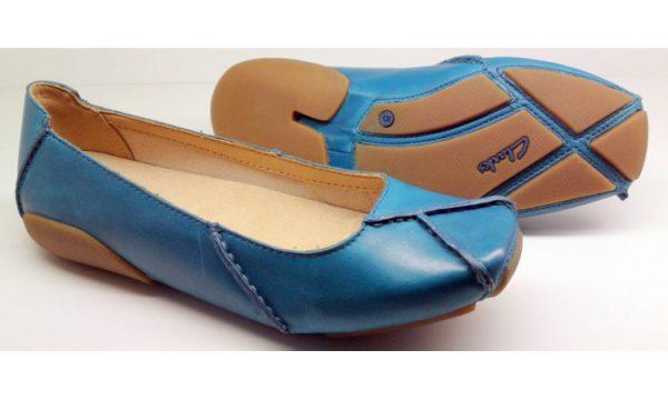 Clarks flat slip-on GEM DELUX teal (blue) leather