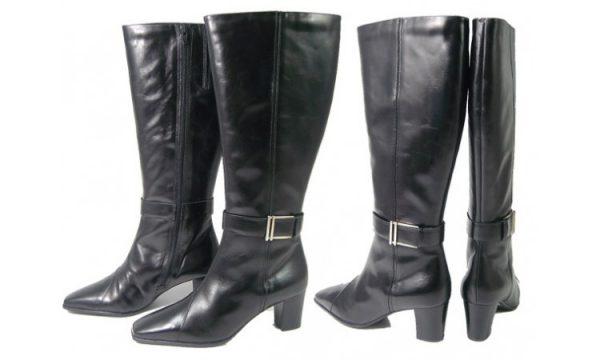 Clarks boots KENYA PLAIN black leather WIDE LEG