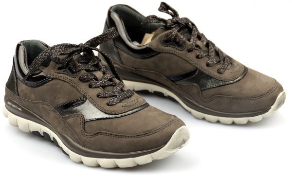 Gabor rollingsoft sensitive 96.967.30 anthrazit gray nubuck and patent black leather