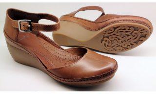 Clarks wedges pumps GENTLE BREEZE tan leather