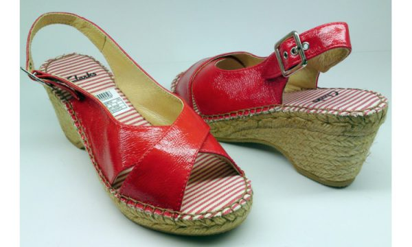 Clarks wedges sandal PICKET HEDGE red patent