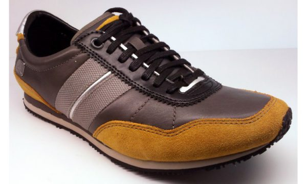 Clarks PRO LACE charcoal yellow leather