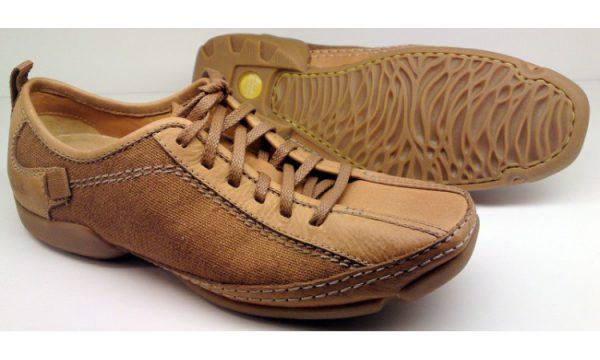 Clarks RELAX SUN light brown leather textile vey flexible laceshoe for men
