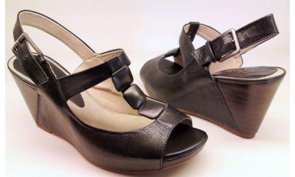 Clarks wedges sandal SILVER ASH black leather