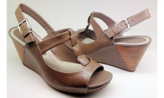 Clarks wedges sandal SILVER ASH brown leather