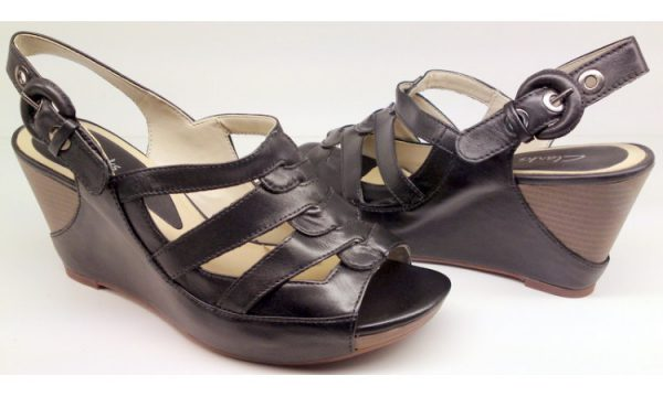 Clarks wedges sandal SILVER BEECH 2 black leather