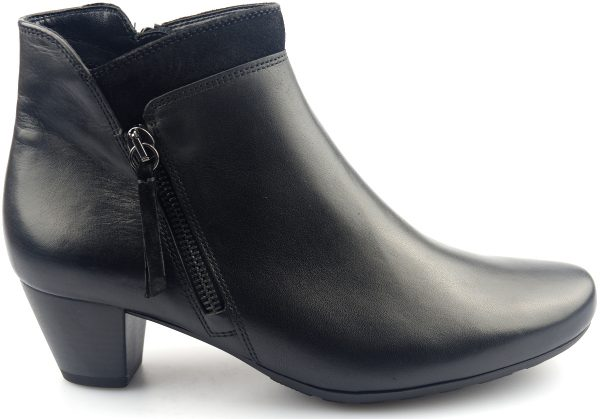 Gabor ankle boots 92.821.57 black leather and suede