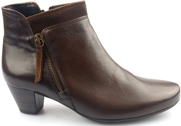 Gabor ankle boots 92.821.25 espresso brown leather and suede