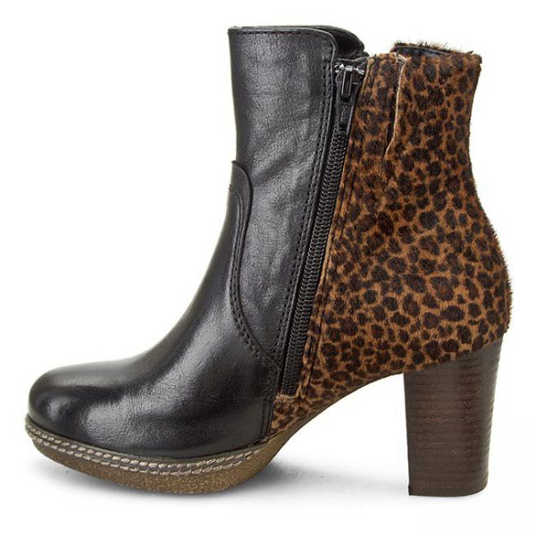Gabor ankle boots 32.871.12 black leather and leopard print