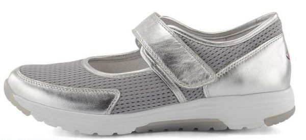 Gabor rollingsoft 66.972.10 silver leather mesh  VELCRO summer walking shoes