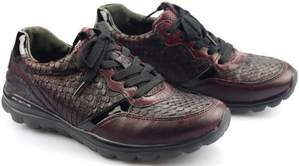 Gabor rollingsoft sensitive 36.968.13 wine red leather walkingshoes for women