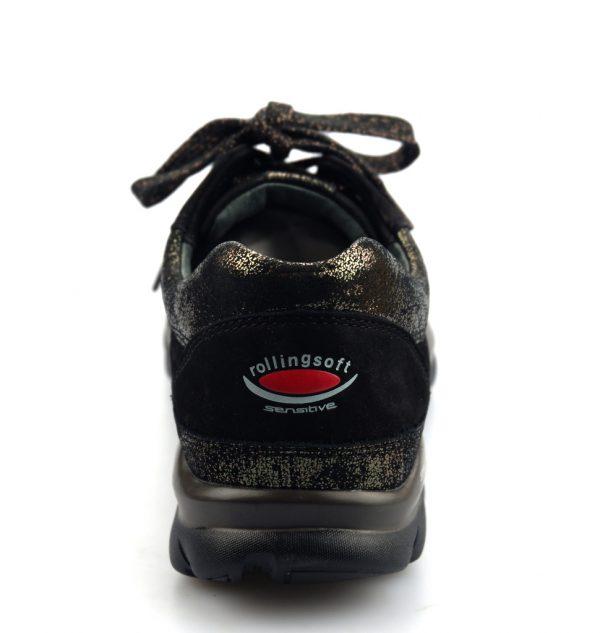 Gabor rollingsoft sensitive 96.967.41 black nubuck and anthrazit gray metallic leather