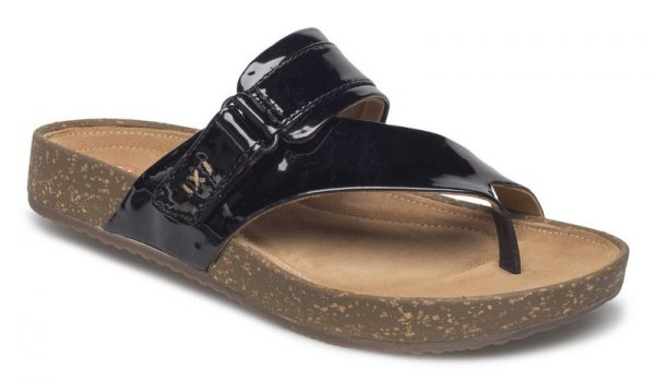 Clarks  ROSILLA DURHAM UNSTRUCTURED patent leather sandal for women black