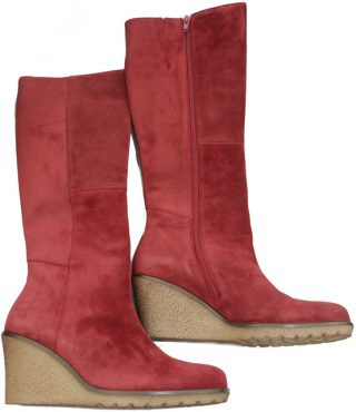 Gabor 51.689.15 red suede long boot for women on WEDGES