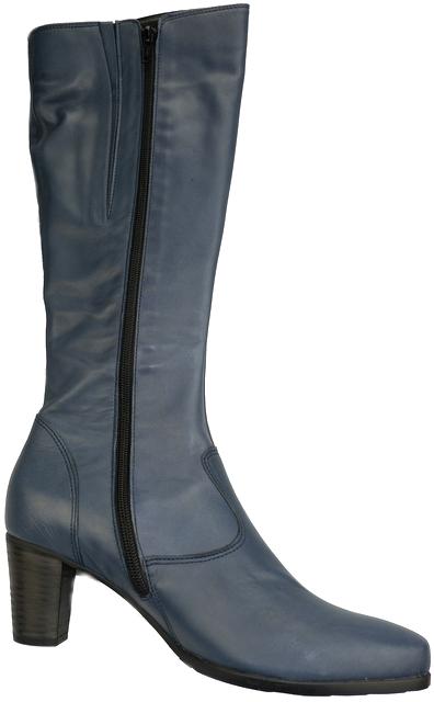 Gabor 56.596.56 navy blue leather long boot for women    LEG WIDTH MEDIUM
