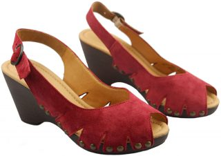 Gabor 45.731.15 red suede pump sandal for women on wedges