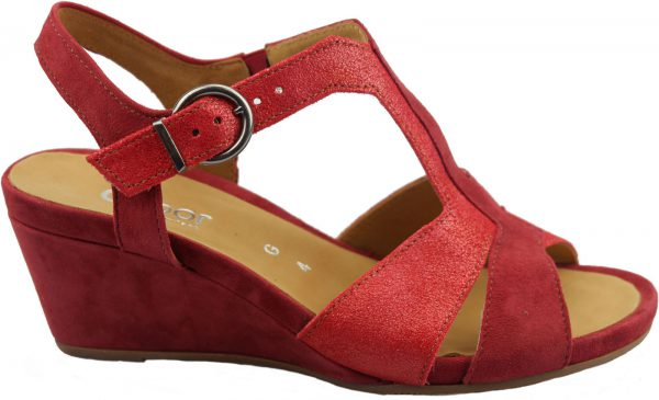 Gabor sandals 82.864.28 red leather and suede     WEDGES
