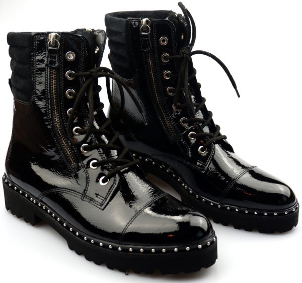 Gabor 91.802.97 PATENT black leather mid-high boot for women