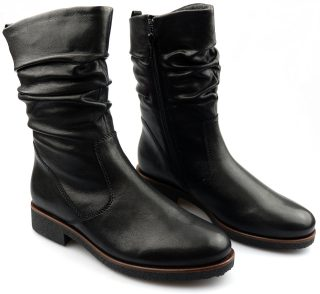 Gabor 92.703.27 black leather pleated mid-high boot for women