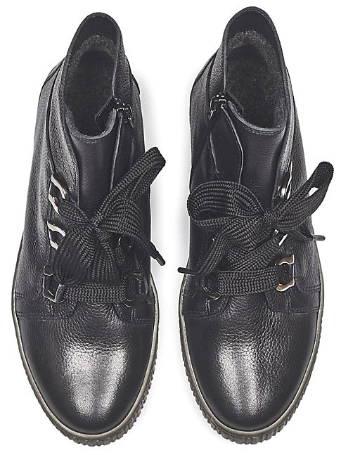 Gabor 93.760.27 black leather mid-high sneaker for women
