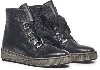Gabor 93.760.27 black leather mid-high sneaker for women
