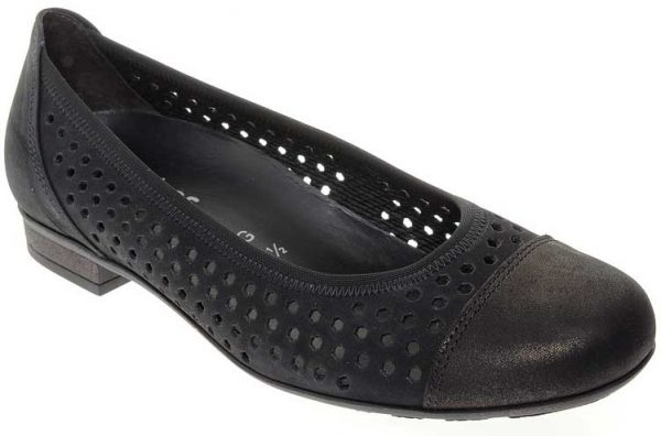 Gabor ballerinas 82.546.41 black suede and leather