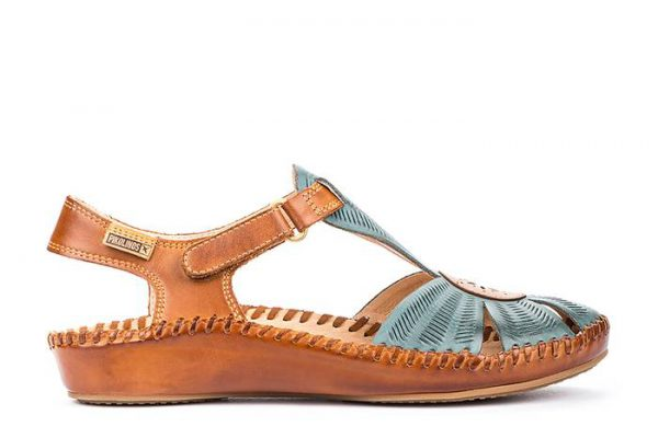 Pikolinos P. VALLARTA 655-0575 Leather Women's Sandal - Petrol