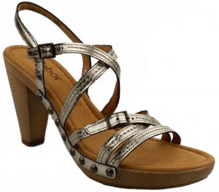 Gabor sandals 65.783.62 silver metallic leather