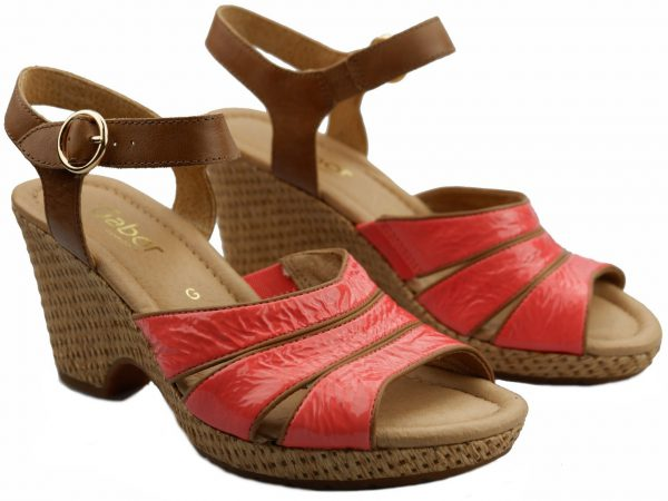 Gabor sandals 82.776.89 coral red patent leather