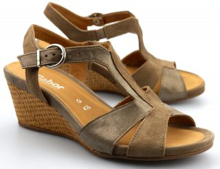 Gabor sandals 82.864.41 taupe gray leather and suede     WEDGES