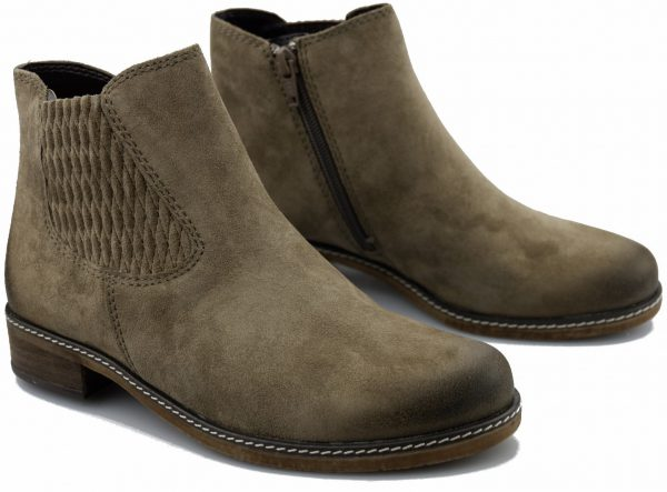 Gabor 92.722.32 suede ankle boot for women with WIDE FEET colour TAUPE