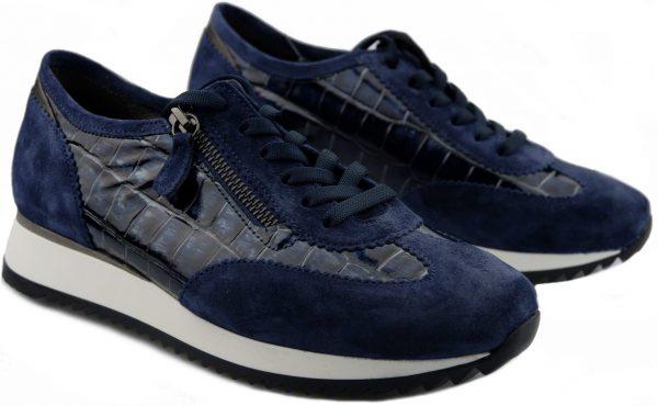 Gabor 56.338.66 Women Sneaker - Blue suede WIDE FIT