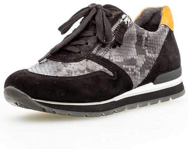Gabor 56.369.33 Women Sneaker - Black leather/suede