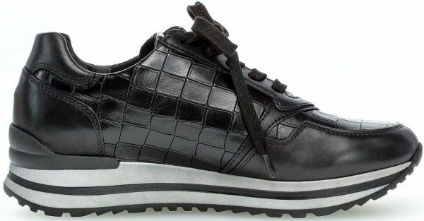 Gabor 56.528.67 Women Sneaker - black leather WIDE FIT