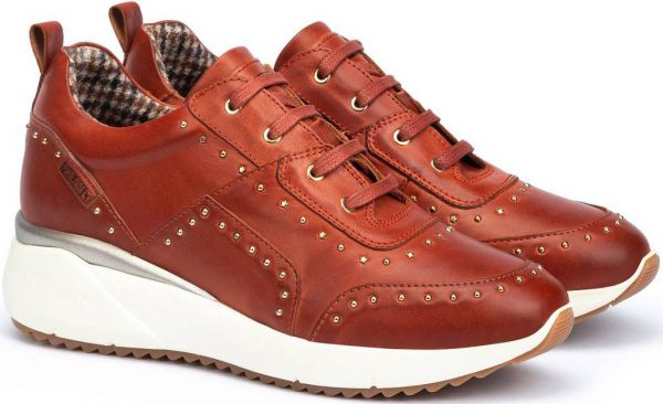 Pikolinos SELLA W6Z-6806 Leather Sneaker for Women - Tandoori (Red)