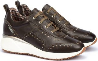 Pikolinos SELLA W6Z-6806 Leather Sneaker for Women - Sea Moss (dark brown)