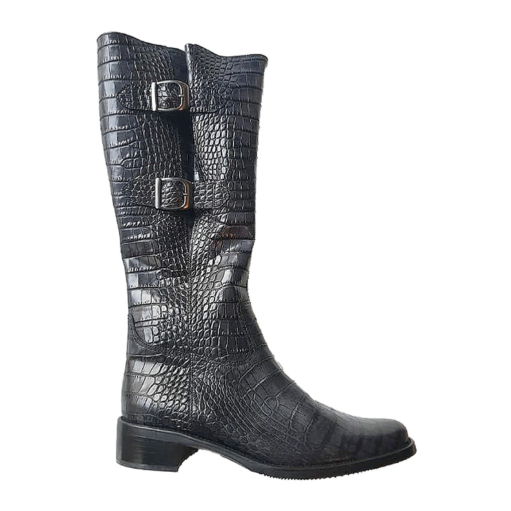 Gabor 91.613.69 dark grey leather long boot for women    LEG WIDTH VARIO LARGE