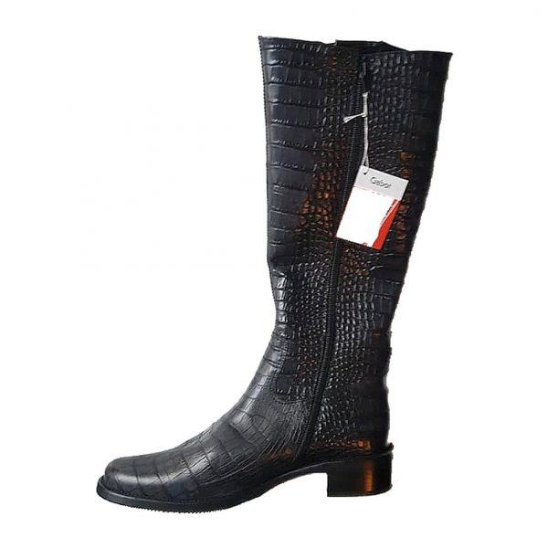 Gabor 91.613.69 dark grey leather long boot for women    LEG WIDTH VARIO LARGE