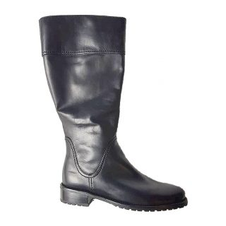 Gabor 92.758.57 black leather long boot for women    LEG WIDTH XLarge