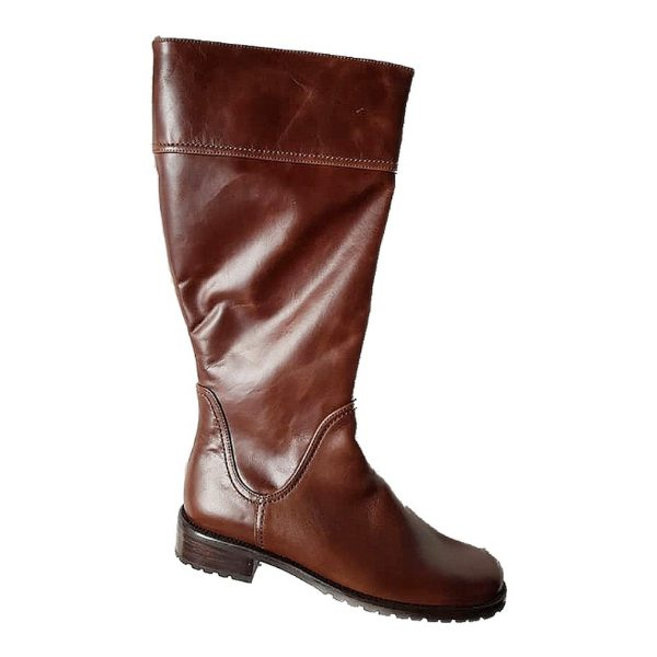 Gabor 92.758.91 brown leather long boot for women    LEG WIDTH XLarge